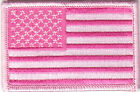 PINK AMERICAN FLAG Iron On Patch 3 Breast Cancer Awareness