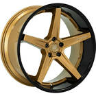 4 19 Staggered Lexani Wheels Savage Satin Bronze w Black Lip Rims B8