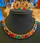 Stunning Vintage Colored Glass Collar and Earring Set