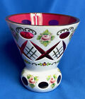 Vintage BOHEMIAN CZECH Cased Glass White Overlay Cut to Red Cranberry Vase