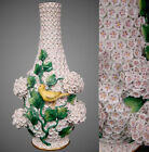 Beautiful Large Antique meissen porcelain Snowball Vase Canary Birds On Ivy