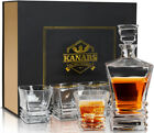 Crafted Liquor Whiskey Decanter Set w Whisky Bourbon Glasses Lead Free Crystal