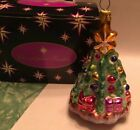 Christopher Radko Christmas Tree & Presents Pink Glitter Ornament w/Box