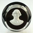 1975 Baccarat Glass Sulphide Paperweight KING LOUIS XVI