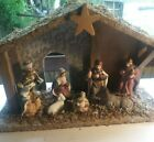 Wood Christmas NATIVITY SCENE SET STABLE Real Moss Top fixed placed Figurines