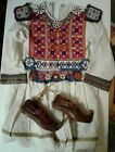 Vintage Homemade Girls Dress Moccasins Embroidered Beads Native American Asian
