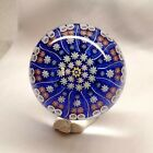 Vintage 25 Perthshire Millefiori Center P Cane Blue Field Spoked Paperweight
