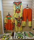 MENS 18PC RIBBONWORK BEADED NATIVE AMERICAN INDIAN FAT FRINGE GRASS DANCE OUTFIT