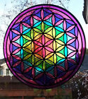 HUGE 12 Inch Hanging Stained Glass Look FLOWER OF LIFE CHAKRA SUNCATCHER