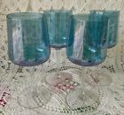 4  Mid Century Modern Luster Blue Wine Glasses 7 1/4 Inches