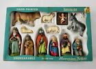 Antique Hand Painted Bavarian Forest W Germany Nativity Set In Box Unbreakable