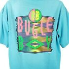 Bugle Boy Surfer T Shirt Vintage 80s Neon Raised Print Made In USA Size Large