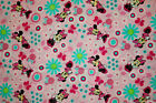 COTTON FABRIC MINNIE MOUSE ON PINK WITH TURQUOISE DAISIES