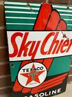 Large Vintage Texaco Sky Chief 1952  Heavy Porcelain Oil Gas Sign