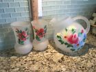 VINTAGE Slanted Frosted PITCHER 2 JUICE GLASSES HAND PAINTED Flowers Poppies