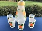HAZEL ATLAS HAND PAINTED ORANGE JUICE PITCHER TUMBLER SET 1950s
