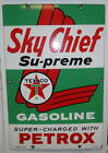 VINTAGE ORIGINAL TEXACO SKY CHIEF SUPREME PORCELAIN PUMP PLATE 3-10-60