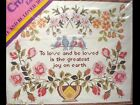 Columbia Minerva Cross Stitch Kit To Love and Be Loved... Bluebirds Roses
