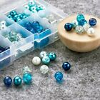 50 Crackle Glass Beads 8mm Assorted Lot Mixed Pearls Blue Bulk Jewelry Supplies