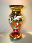 Czech Bohemian High Enamel Red Gold Vase Cranberry Glass Hand Painted Egermann