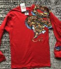 Vintage 90s JNCO Jeans Dragon Long Sleeve T Shirt Red Kids Large NWT Deadstock