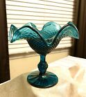 Beautiful Indiana Glass Diamond Point Blue Green Pedestal Compote Candy Dish