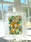 OOAK VINTAGE JEWELRY ART GLASS CRYSTAL GLASS FRAME COLLAGE IN GREEN  GOLD