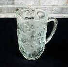 Vintage Libbey Orchard Fruit Clear Pitcher Glass Raised Fruit Design Heavy NICE