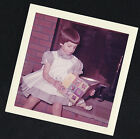Vintage Photograph Adorable Little Girl Sitting By Fireplace Reading A Book