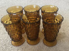 Lot of 6 Vintage Fostoria Amber Indiana Colony Whitehall Cubist Glasses