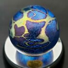 Robert Held Art Glass Paperweight Iridescent Abstract Blue 225 Canada Signed