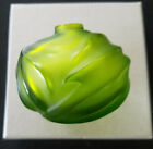 LALIQUE Soliflore Royal Palm Noire Vase in LIME GREEN NEW in Box