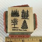 Small Trees cube Nature Foliage Rubber Stamp