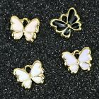 4 Assorted Enamel Charms Gold Butterfly Findings Mix Spring Jewelry Making 12mm