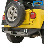 EAG Rear Bumper with D-ring Shackle Black Textured Fit 87-06 Jeep Wrangler TJ YJ