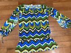 TRINA TURK Ladies Bright Bold Swim Cover Up Dress Sz M Open Arms Blue Green Lime