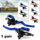 Pair 22mm 7 8 Motorcycle Master Cylinder Hydraulic Brake Clutch Levers Reservoir