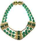 Vintage Freirich Green Glass Gold Plated Layered Strand Festoon Necklace