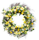 New Spring Summer YELLOW WHITE DAISY Flower Floral Twig Wreath 21