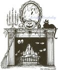 HALLOWEEN Haunted Fireplace Wood Mounted Rubber Stamp NORTHWOODS P9144 New
