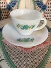 FIRE KING ANCHOR HOCKING FLOWERED COFFEE TEA CUP And SAUCER
