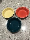 Fiesta Fiestaware Bowls - 3 - Discontinued Colors Persimmon Juniper Yellow,