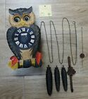 VTG CUCKOO CLOCK BLACK FORREST OWL WITH MOVING EYES CARVED GENUINE COLLECTIBLE