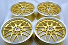 4 New DDR T3 17x7 5x100 1143 38mm Gold Machined Lip 17 Wheels Rims