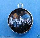 Vintage silver MUSIC SCALE MUSICAL NOTES INTAGLIO REVERSE CRYSTAL BUBBLE charm