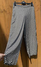 Vintage Style High Waisted Chevron Wide Leg Palazzo Trousers W POCKETS Size 14