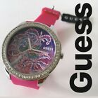 New GUESS Womens Getaway Watch Tropical Pink Brocade Dial Crystals Silicone Band