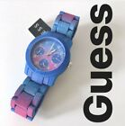 GUESS Womens Funfetti Multifunction Watch, Blue Pink Ombre, Glitz Crystals, Date