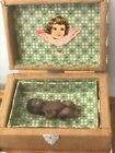 OOAK Miniature Dollhouse Brown Baby Trunk Clothing and Birth Certificate