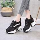 Womens Wedge Sneakers Lace Up Gym Athletic Jogging Platform Breathable Shoes